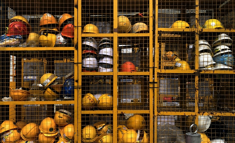 hard hats on a safe worksite