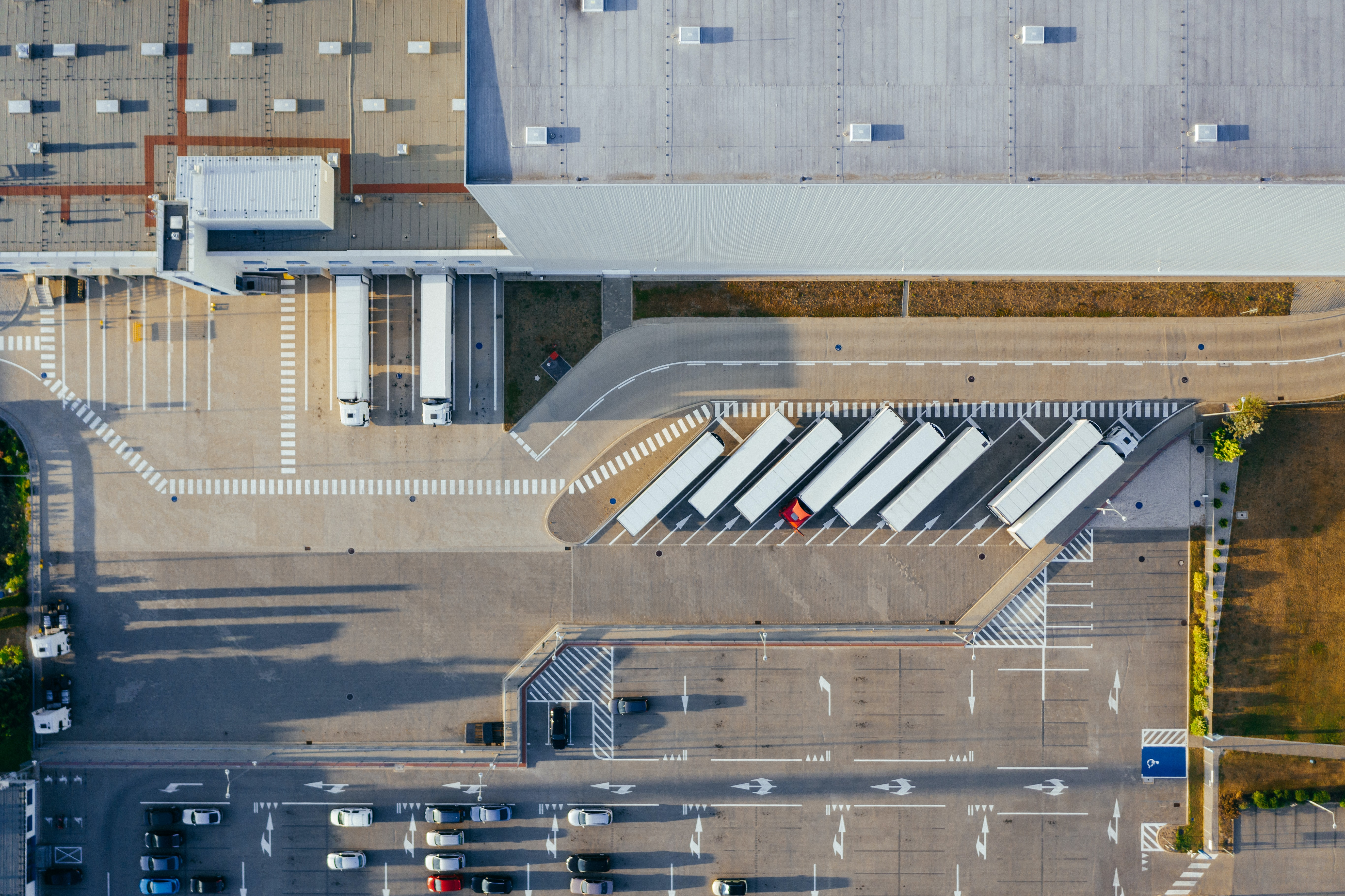 warehouse from an aerial view